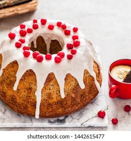 Lemon Poppy Seed Bundt Cake with Sugar Glaze and Redcurrant, square