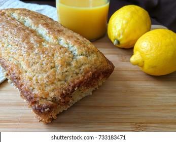 lemon poppyseed bread on cutting board