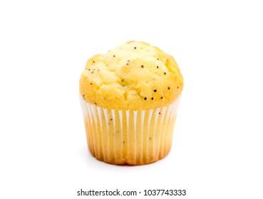 Lemon Poppyseed Muffins on a White Background