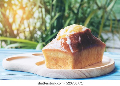 Lemon pound cake served in the morning sun rise