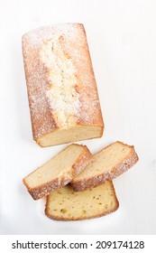 Lemon pound cake sliced