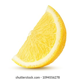 lemon slice, clipping path, isolated on white background full depth of field