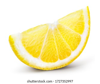 Lemon slice isolate. Cut lemon slice side view. Lemon slice with zest isolated. With clipping path. - Shutterstock ID 1727352997