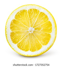 Lemon slice isolate. Lemon top view round slice. Lemon slice with zest isolated. With clipping path.