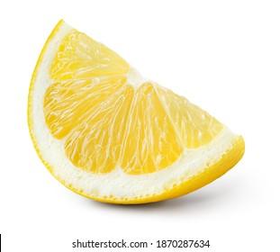 Lemon slice isolate. Lemon slice with zest isolated. Cut lemon fruit with clipping path.