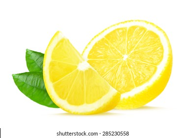 lemon slice lemon isolated on white