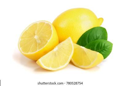 lemon and slice with leaf isolated on white background