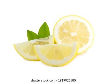 lemon slice and leaves isolated on white background