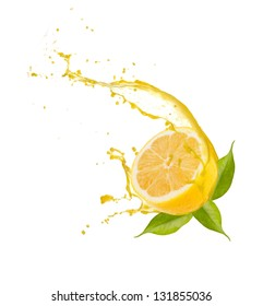 Lemon slice with splash, isolated on white background