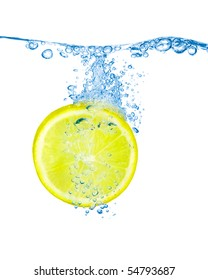Lemon slice in water with bubbles isolated