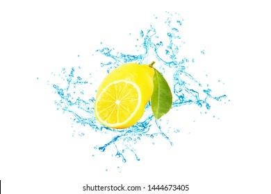 Lemon and sliced lemon have splash water on a white background