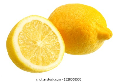 lemon with slices isolated on white background. healthy food
