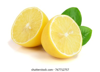 lemon slices with leaf isolated on white background