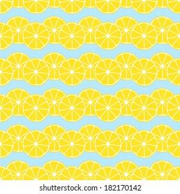 Lemon slices on blue background seamless pattern