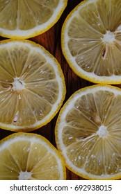 Lemon slices on a cutting board