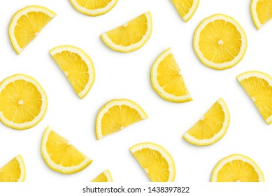 Lemon slices as pattern isolated on white background - Shutterstock ID 1438397822