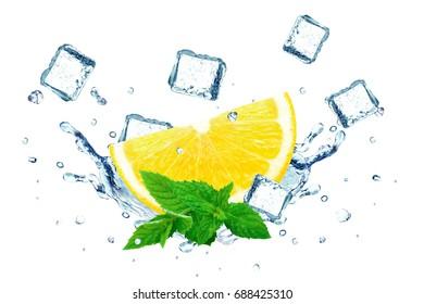 Lemon splash water and ice cubes isolated