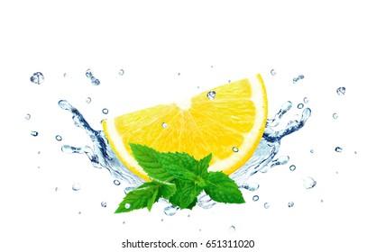 Lemon splash water isolated on white background