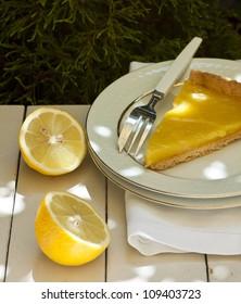 Lemon tart sliced ??freshly baked