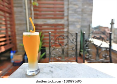 Lemon tea is a cold drink for guests to enjoy the view on the rooftop.