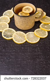 Lemon tea on a black background