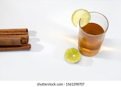 lemon tea in transparent glass cup isolated background copy space