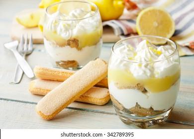 Lemon tiramisu in a glass