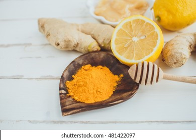 Lemon, turmeric, honey and ginger. Healthy concept