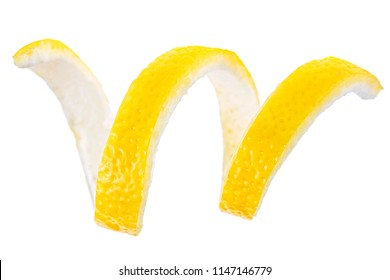 Lemon twist on a white background. Lemon peel.