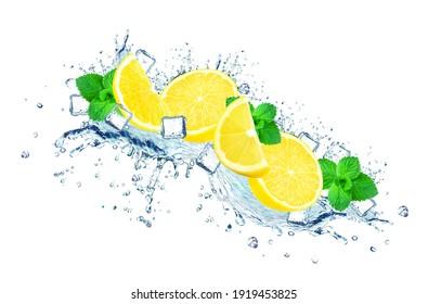 lemon water splash, ice cubes isolated on white