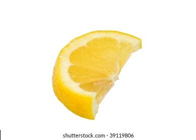Lemon wedge isolated on white background