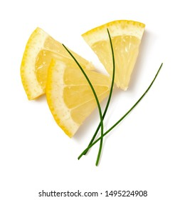 lemon wedges with aromatic herbs