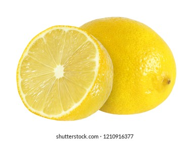 Lemon whole and cut half isolated on white background with clipping path.
