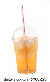 Lemonade drink in a plastic cup with a straw isolated on white