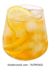 Lemonade with ice cubes and lemon isolated on white background.