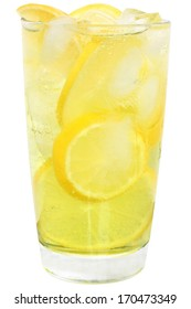 Lemonade with ice cubes and sliced lemon on white background.