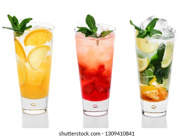 lemonade with ice on white background