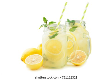 Lemonade in jar with ice and mint. isolated on a white background