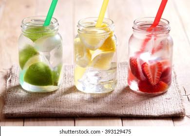Lemonade. Lemonade in jars.