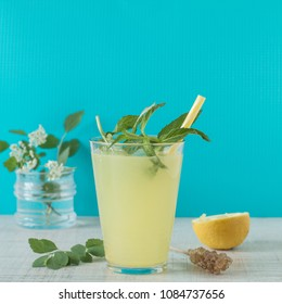 Lemonade with lemon and mint, cold refreshing drink or beverage