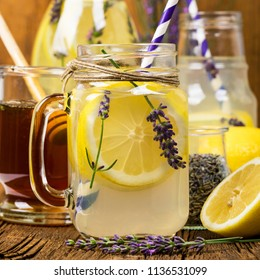 Lemonade with Lemons and Lavender. Provence Style. Selective focus.
