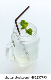 Lemonade with mint on white background
