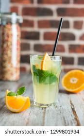 lemonade with orange mint and ice