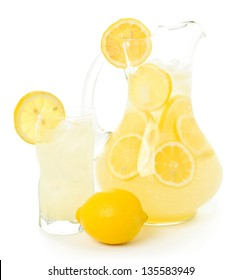 Lemonade Pitcher and Glass with Lemons