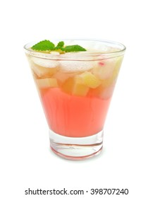 Lemonade with rhubarb and mint in a glassful isolated on white background