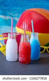 lemonade slush, blueberry slush and strawberry slush. patriotic cool drinks for your 4th of July picnic or at the beach