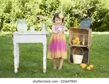 The Lemonade Stand.  Adorable little girl trying to sell lemonade at a roadside stand.
