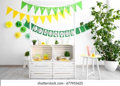 Lemonade stand indoors