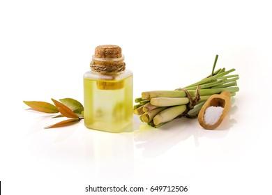 Lemongrass Essential Oil on white background.