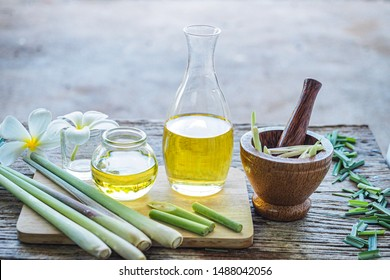 Lemongrass essential oil is placed on the table using hand and body drip oil lemongrass oil - spa and insect repellent.